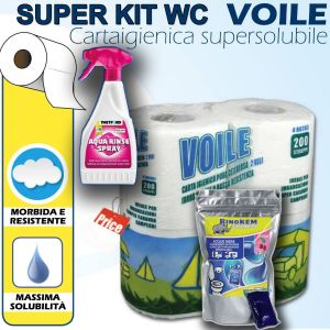 Kit Wc Carta igienica + Disgregante Pastiglie + Spray